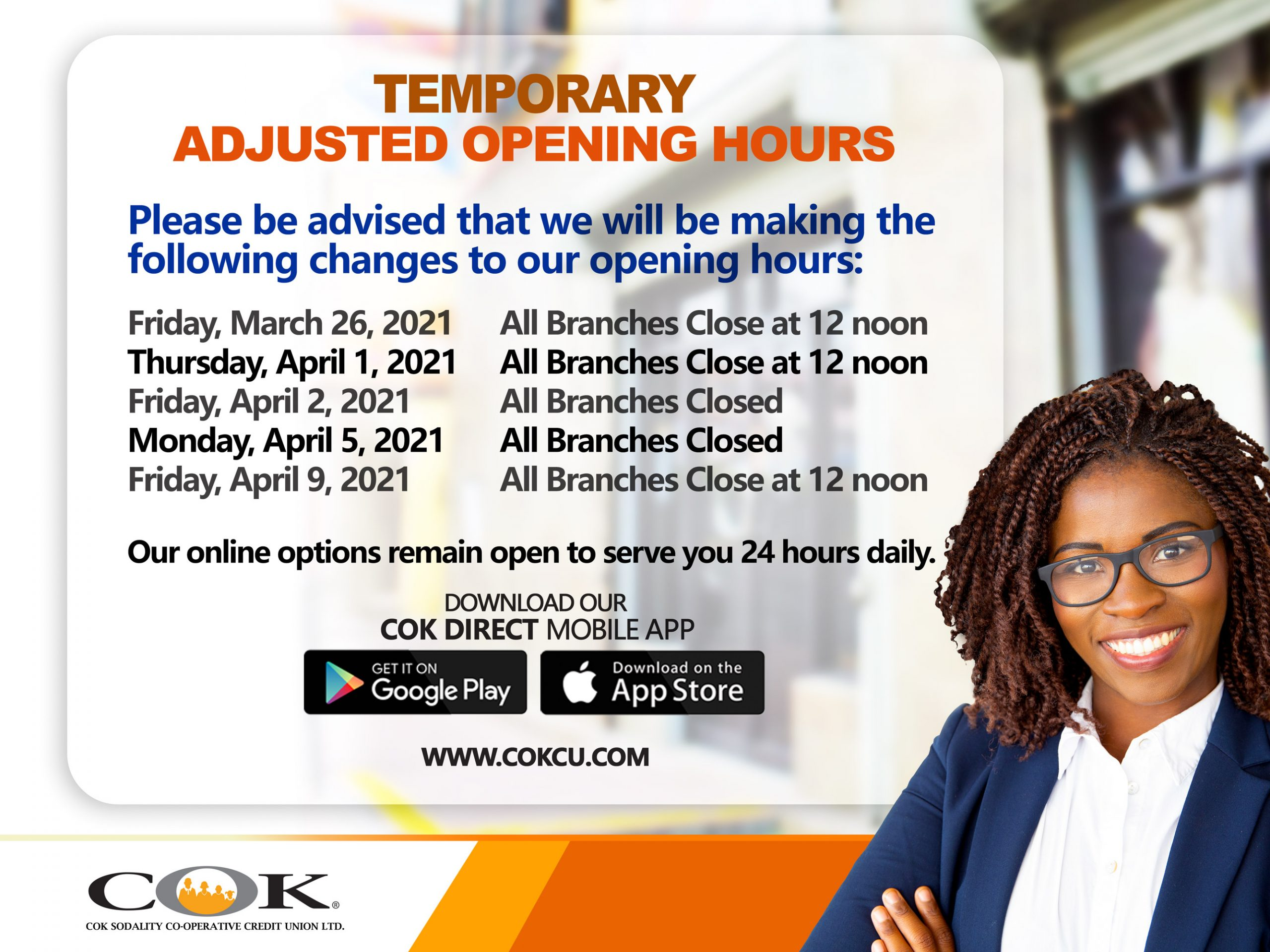Temporary Adjusted Opening Hours