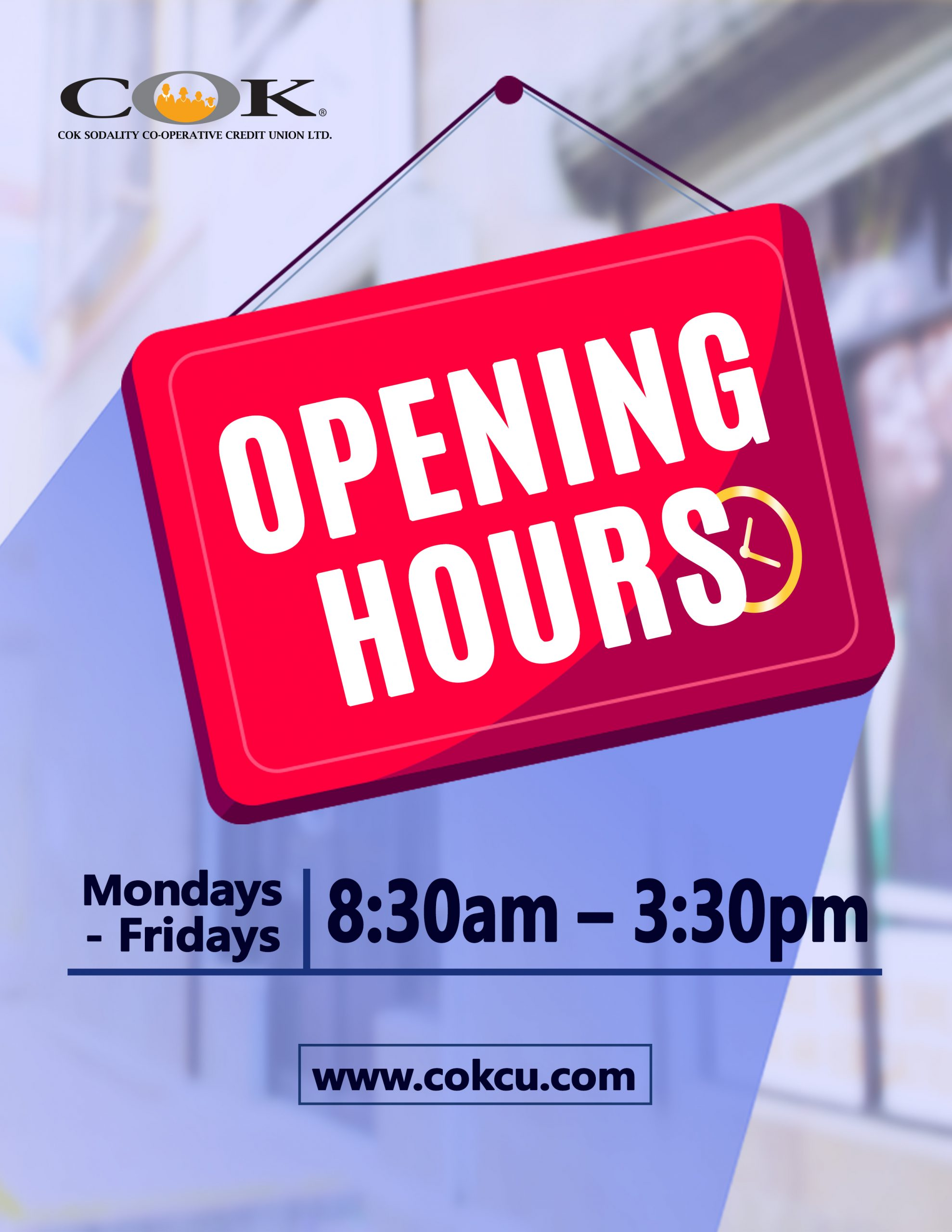 Adjusted Opening Hours  830am-330pm Door Sign